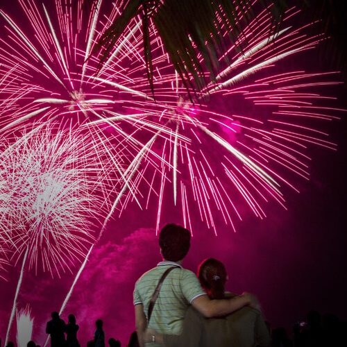 couple watching fireworks
