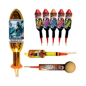 Our selection of unique Big Rockets from the ghengis fireworks rocket range, you can buy individual rockets or rocket packs and bundles.