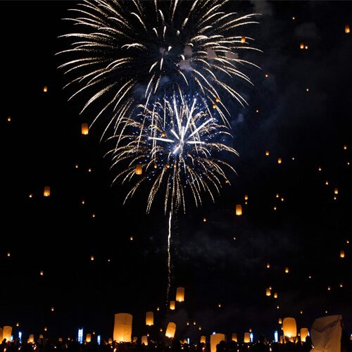 lots of sky lanterns and fireworks in the sky
