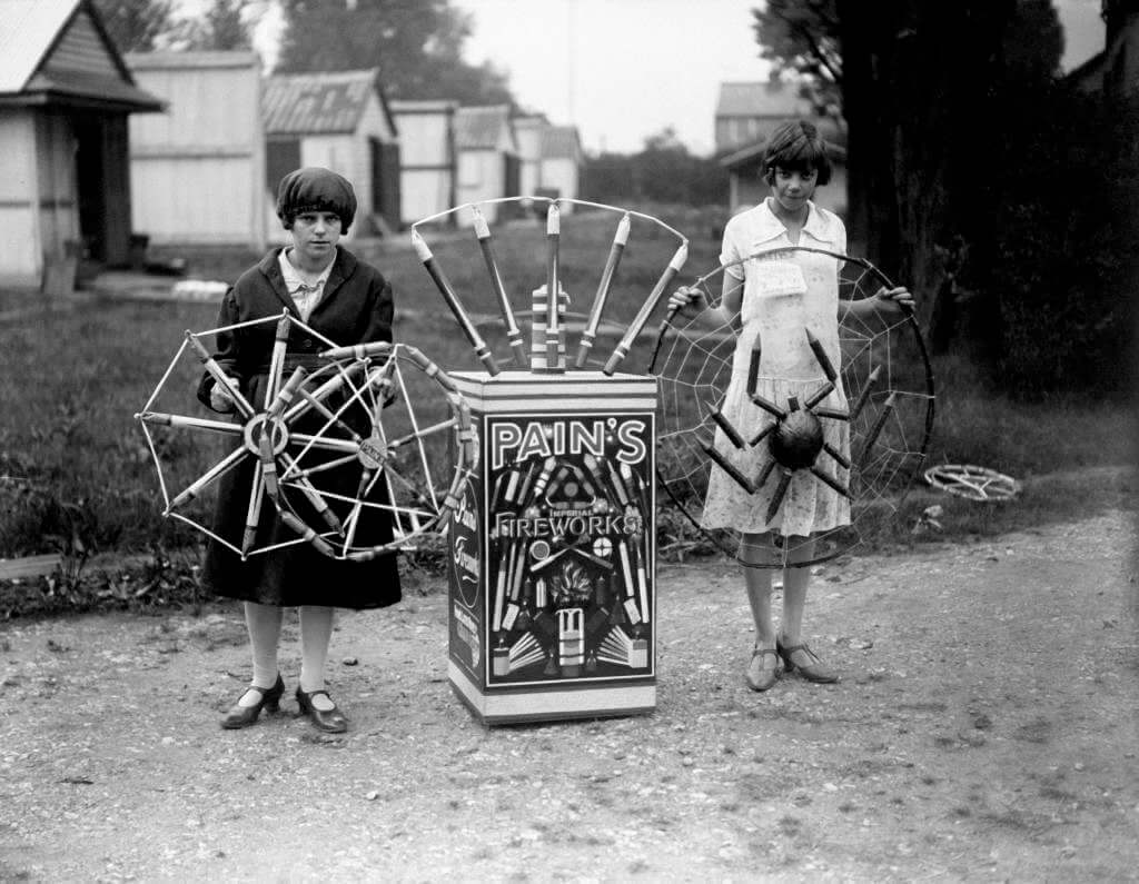 black and white photograph of Pains Fireworks Factory workers circa 1928