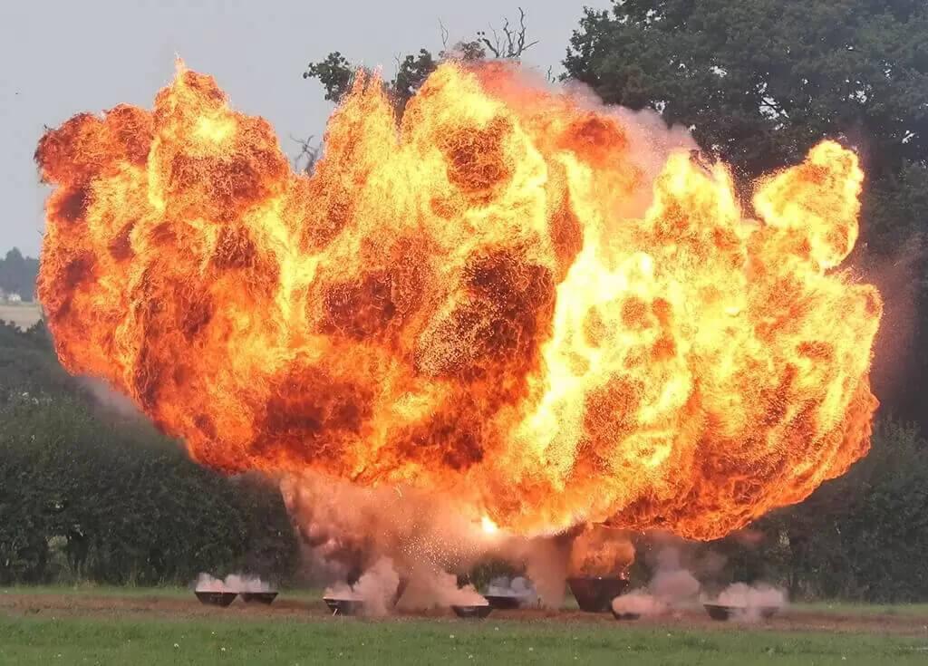 War ReEnactment Planes, Pyro Explosions and Huge aerial Fireballs by Ghengis Fireworks at Headcorn Aerodrome in Kent