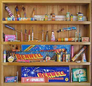 Museum display of historic fireworks