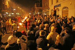 a line of fire used to ignight the squibs at the bridgewater carnival