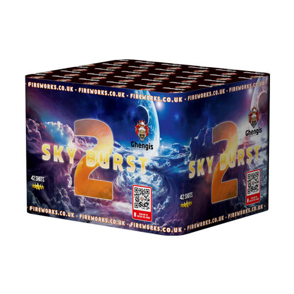 Sky Burst 2 is one of our larger Multi-Shot single ignition fireworks, with a safety distance of 25 meters its for those looking to put on a serious garden display.